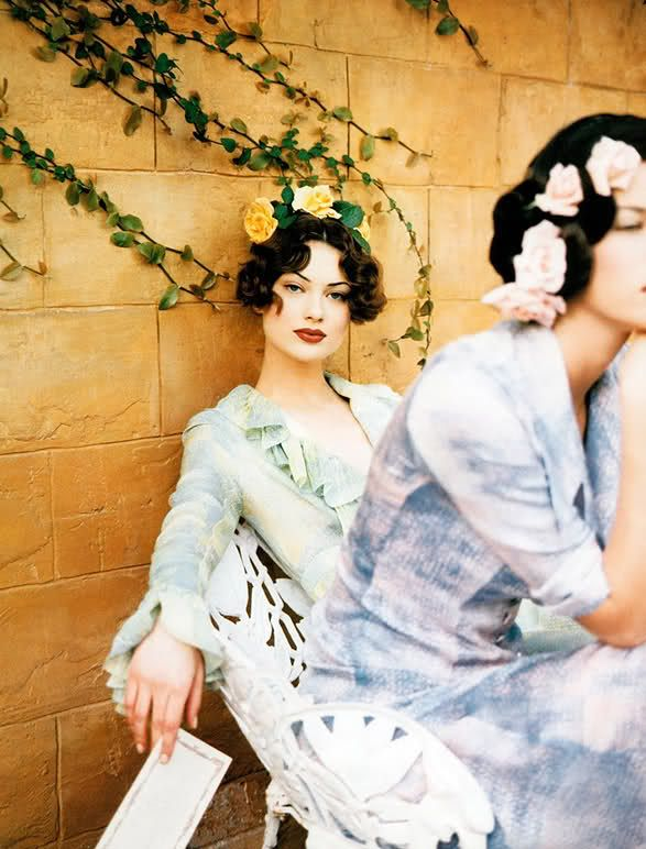 Garden Party Harper's Bazaar US, February 1992| Shalom Harlow photographed by Patrick Demarchelier.
