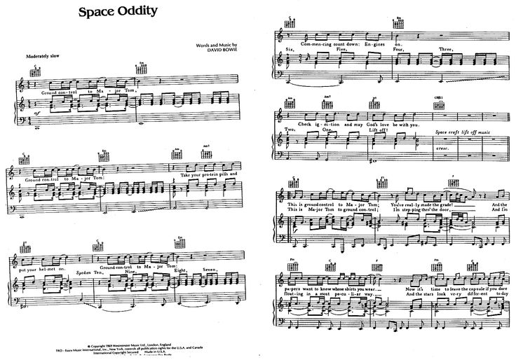 space oddity sheet music pdf