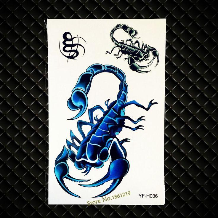 Blau metallic Tätowierung Skorpion gefälschten Flash Body Art Arm Tattoo Aufkleber 1 …,  #A…