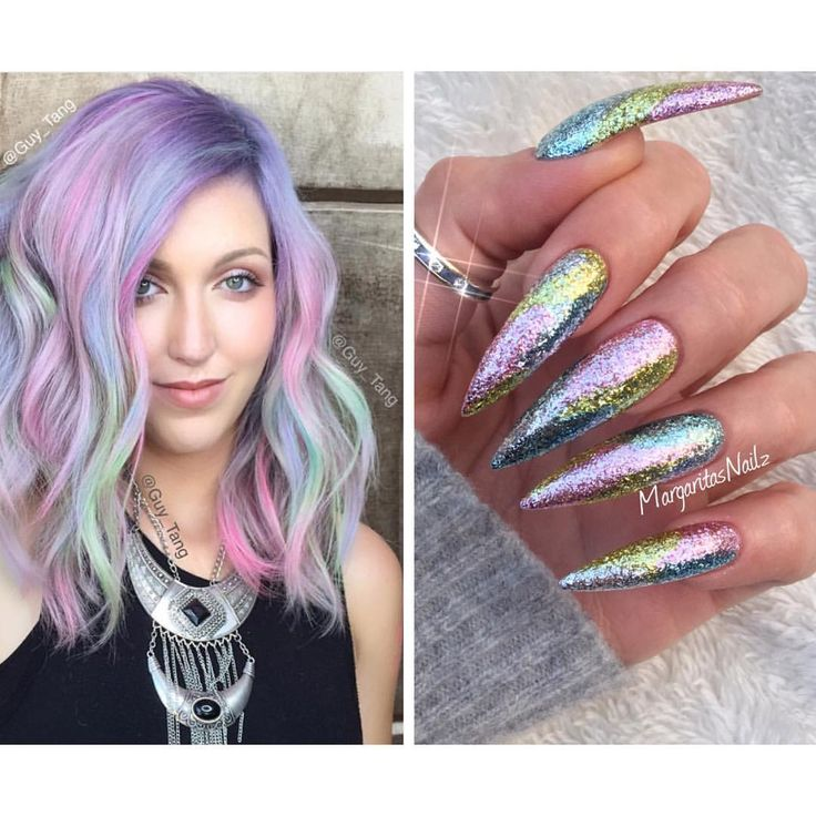 Rainbow Hair and stiletto nails  spring 2016