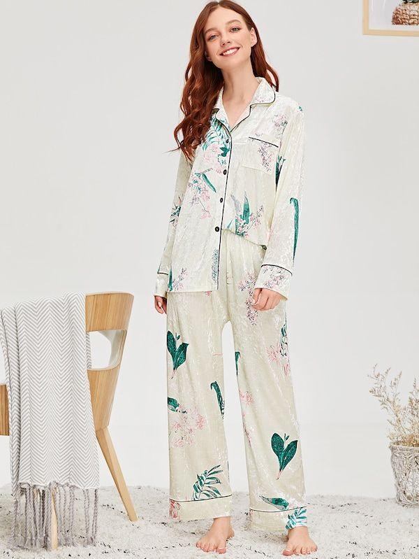 44e254b14c Floral Print Velvet Shirt & Pants PJ Set -SheIn(Sheinside ...