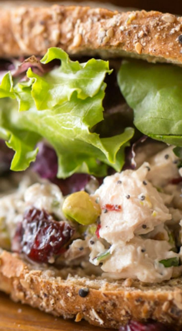 Cranberry Pistachio Chicken Salad Sandwich ~ Lightened up chicken salad with tangy sweet dried cranberries and crunchy pistachios!