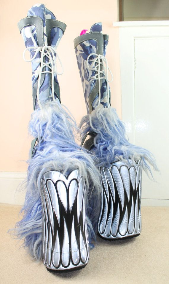 Holy Freakin Boots!!  90s MEGA RARE 10 Inch Monster Teeth Furry Platform Knee High Blue Camouflage Insane Swear Kiss Boots Uk 7 / Us 9.5 / Eu 40