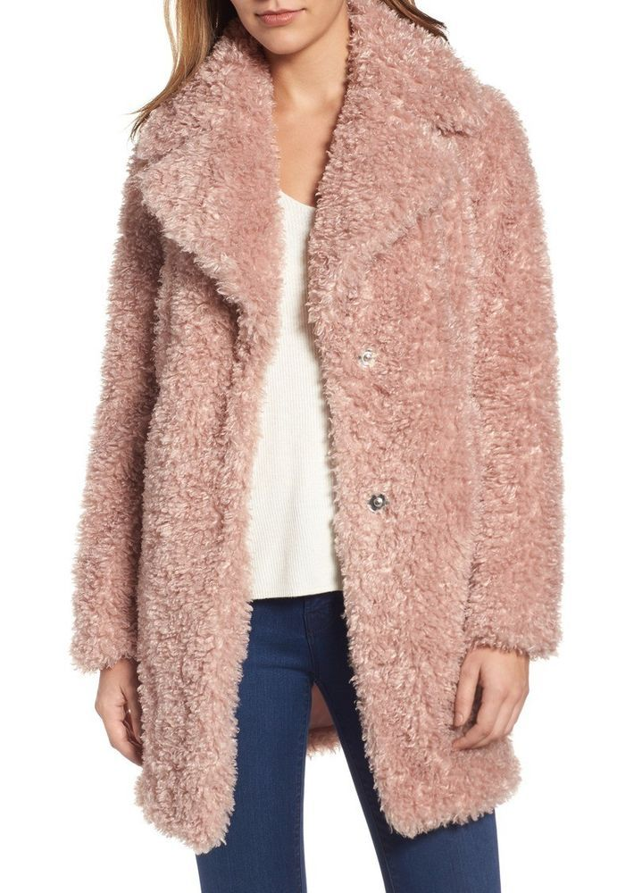 5568e1ac117 New Women s Kensie Reversible Teddy Bear Coat Pink Faux Fur Oversized  Fashion M  fashion  clothing  shoes  accessories  womensclothing   coatsjacketsvests ...