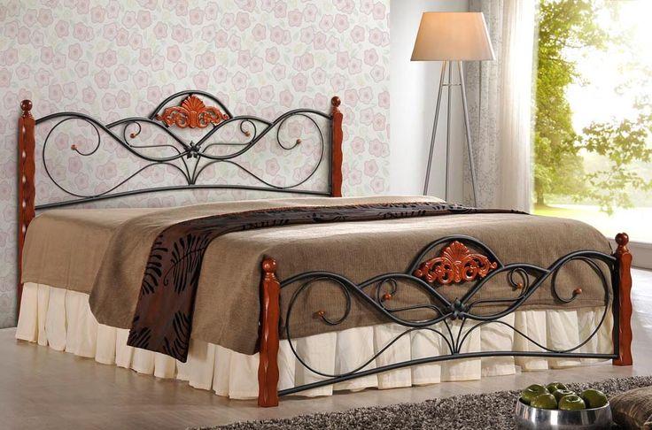 """Łóżko Valentina 160x200cm - wykonane z połączenia litego drewna i stali. Zapraszamy do sklepu """"Meblowy Guru"""" z dostawą na terenie całego kraju."""