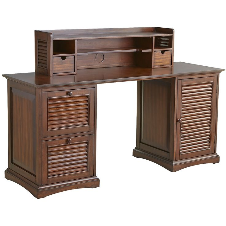 Plantation Desk Hutch Mahogany Brown