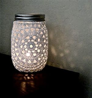 Doily mason jar candle holder