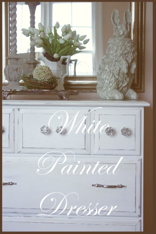 StoneGable: WHITE #PAINTED #DRESSER  #DIY Love replacing the one handle with two knobs.