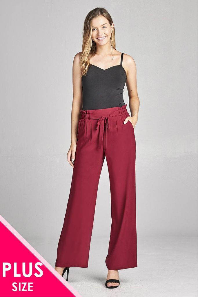a28a126864f9 Ladies fashion plus size self ribbon detail long wide leg woven pants in  2018