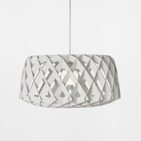 Finnish designer Tuukka Halonen has designed a range of pendant lights made of repeated interlocking parts for design brand Skandium. Called Pilke, the light shades are made of identical plywood cutouts, which interlock to form a three-dimensional shape. The shades slot together and don't require any tools or adhesives to assemble. The collection includes two