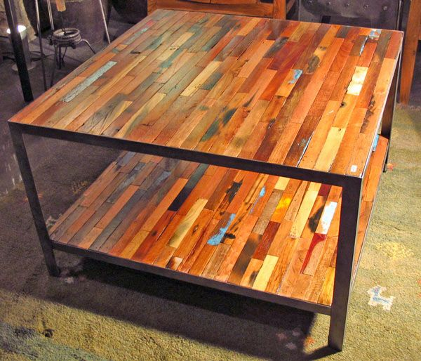 Reclaimed Boat Wood Coffee Table: Reclaimed Boat Wood Coffee Table, Square, 2 Top Impact