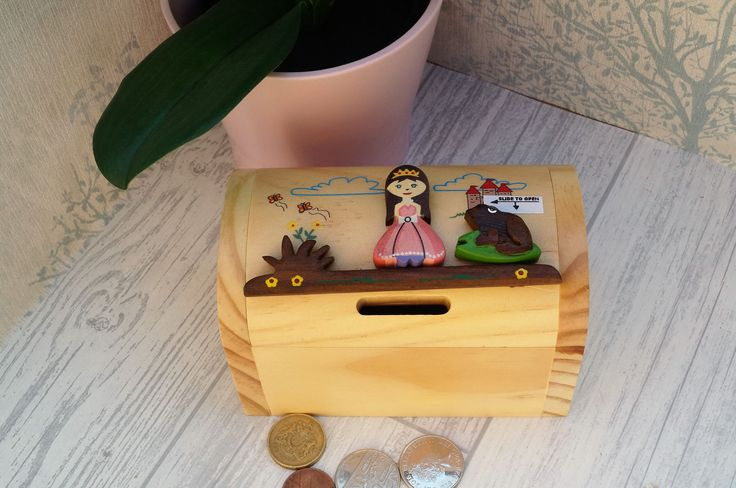 Childrens wooden money box, personalised money box, princess money box, treasure chest money box, childrens birthday gift,  moneybox, by celebrateyourway on Etsy