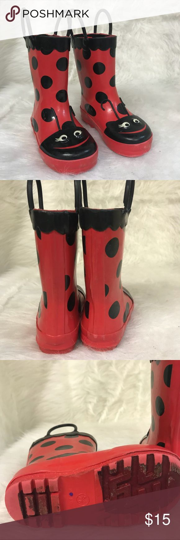 Ladybug girls rain boots Target 5/6 Size 5/6 Rain boots in good condition. Made by target Target Shoes Rain & Snow Boots