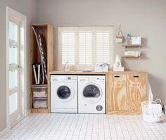 KARWEI   Nooit meer je vuile was in zicht met deze handige opbergruimtes voor je was en wasmachine. #karwei #diy #wooninspiratie