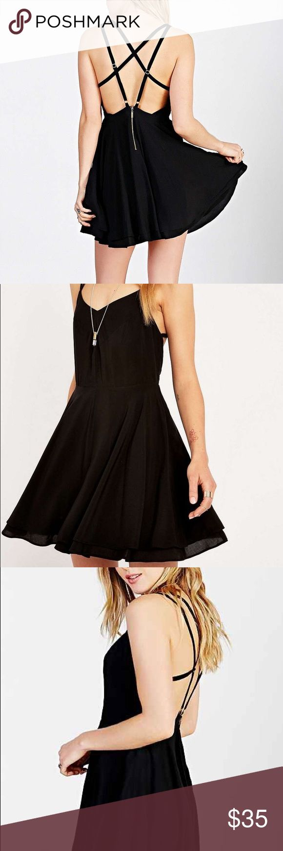Kimchi Blue Strappy Black Fit Flare Scarlett Dress Worn Once Urban Outfitters Dresses Mini