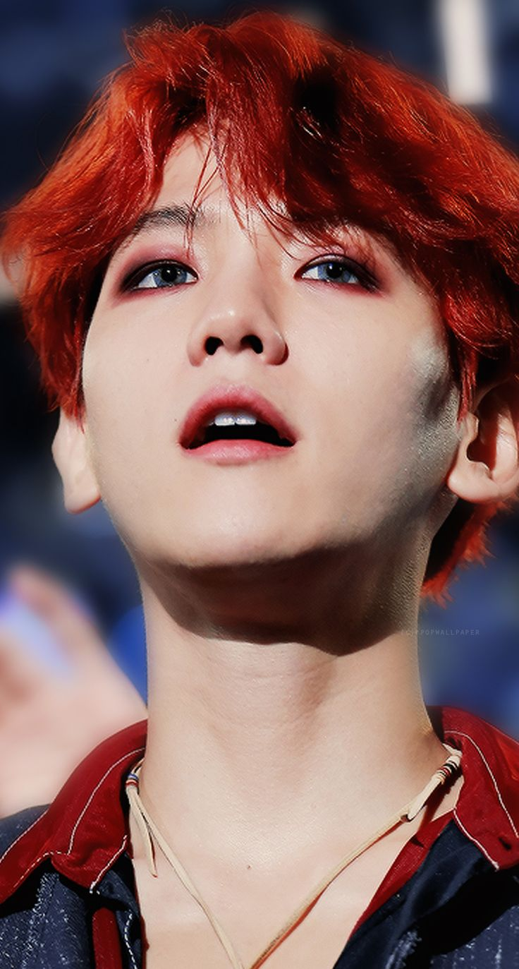 EXO Baekhyun Red Hair Wallpaper #kpop #wallpaper