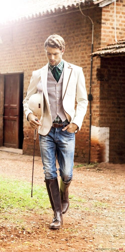 Choose a beige blazer and blue jeans if you're going for a neat, stylish look.  Shop this look for $228:  http://lookastic.com/men/looks/tie-longsleeve-shirt-waistcoat-hat-blazer-belt-jeans/4269  — Teal Tie  — Teal Plaid Longsleeve Shirt  — Pink Waistcoat  — Beige Hat  — Beige Blazer  — Dark Brown Leather Belt  — Blue Jeans