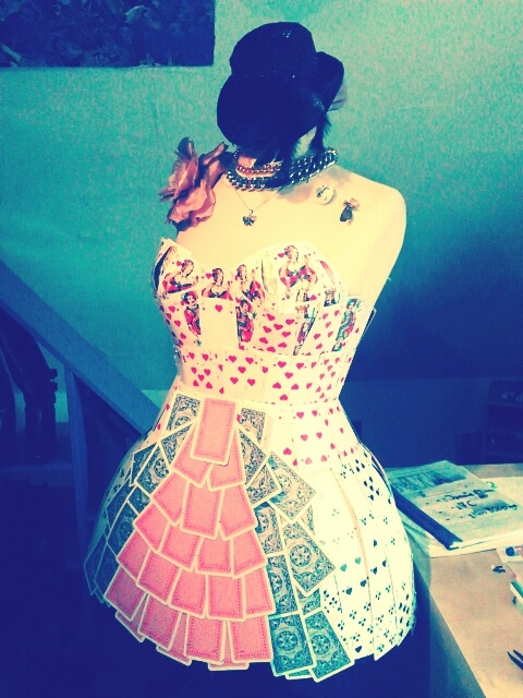 Queen of hearts costume, made out of cards by Jaemie Elsasser