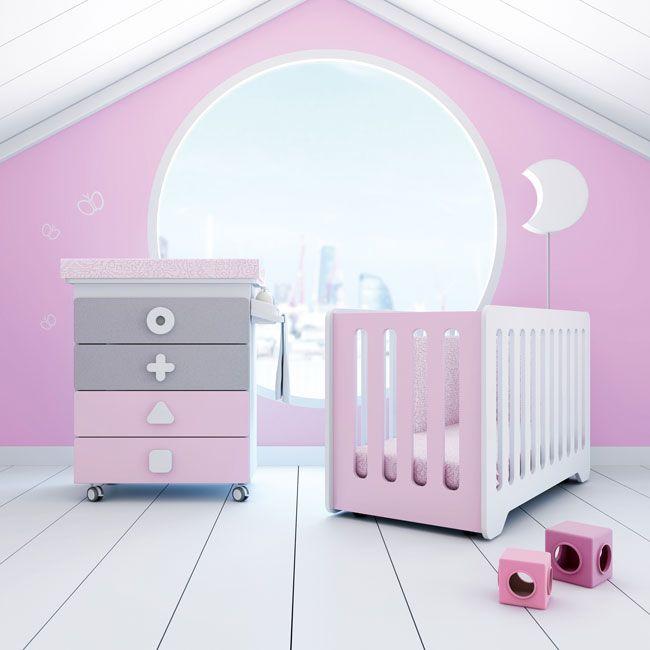 Cunas y bañeras de diseño, modernas y originales para bebés en color rosa. Te va a encantar la colección MATHS de Alondra. Bath & cots for Her