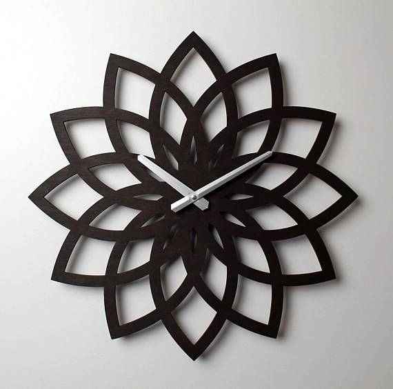 23 Lotus Wall Clock Oversized Wall Clock Unique Wall Clock Large