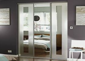 Homebase Silver Frame Frosted Border Mirror Sliding Doors