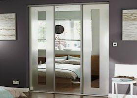 Homebase Silver Frame Frosted Border Mirror Sliding Doors