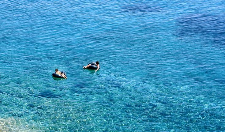 Swimming pleasure in turquoise crystal water of Crete island in Greece Worldwide photography