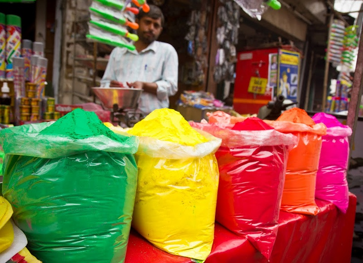 Preparing for Holi - the festival of color.  (New Delhi, India, 2011)