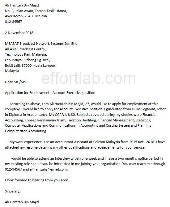 Contoh Application Letter Untuk Fresh Graduate Online