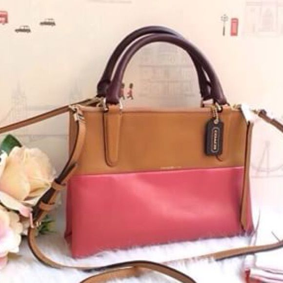 Coach borough bag!! Super cute tan and loganberry color block coach mini borough!!! Comes with cross body strap! New with tags! Has three zippered compartments! Coach Bags
