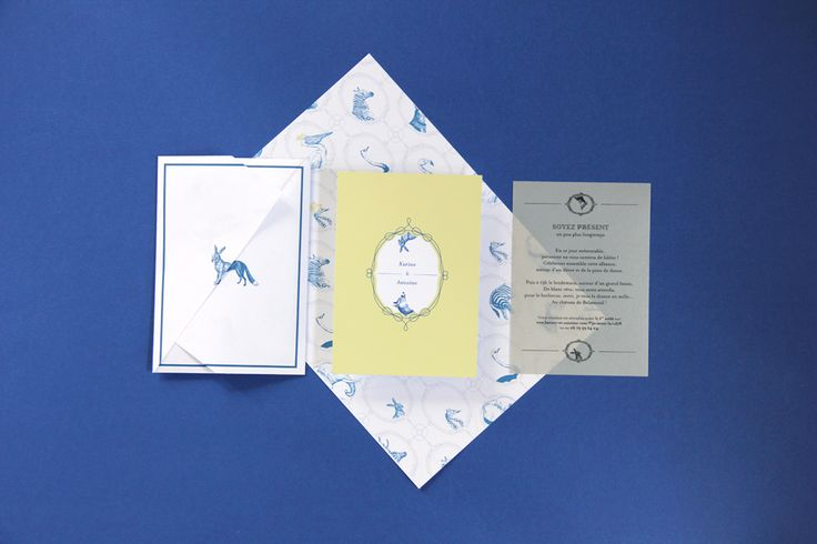 Wedding invitation - Exquisite Corpse Illustration - #fox & # rabbit  Allons-y Alonso - Design d'invitation & fun !