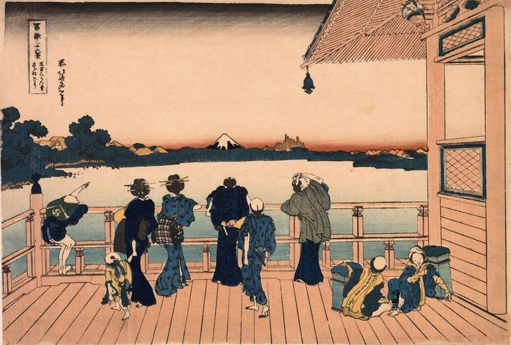 Mt. Fuji from the Sazai Hall at the Temple of the Five Hundred Rakan by Hokusai, from the series Thirty-Six Views of Mount Fuji