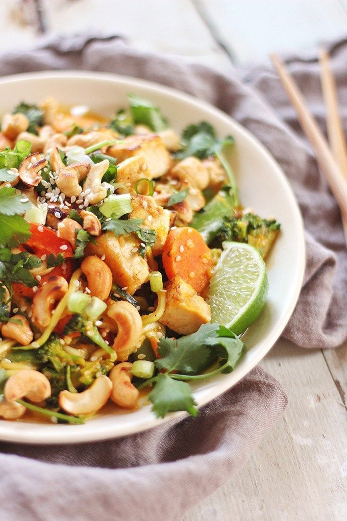 Carrot Cashew Zoodles with Crispy Sesame Tofu
