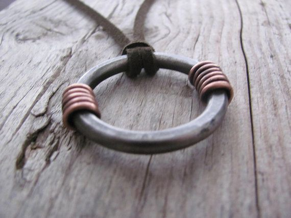 Limited Time Handmade Forged Blacksmith Metal Spiral Pendant made with Steel No Longer Produced!