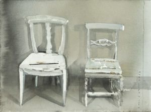 "I love the splendid ""accidents"" in this painting of chairs by Lars Lerin."