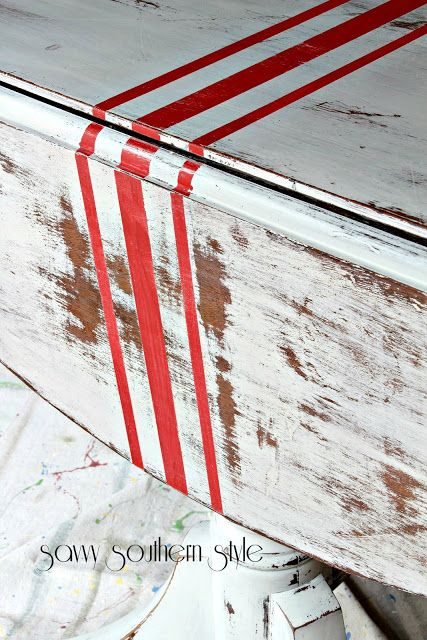 Miss Mustard Seed milk paint in grain sack, DIY painted grain sack stripes, antique drop leaf table
