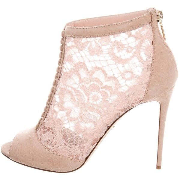 Pre-owned Dolce & Gabbana Suede Lace Ankle Boots ($625) ❤ liked on Polyvore featuring shoes, boots, ankle booties, heels, pink, peep toe heel booties, suede lace-up booties, suede booties, lace-up bootie and lace-up ankle booties