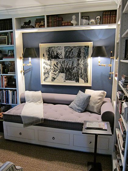 This is the type of cushion I was thinking for your living room window seat. Also, the lamps on either side of the built-ins are a nice touch.