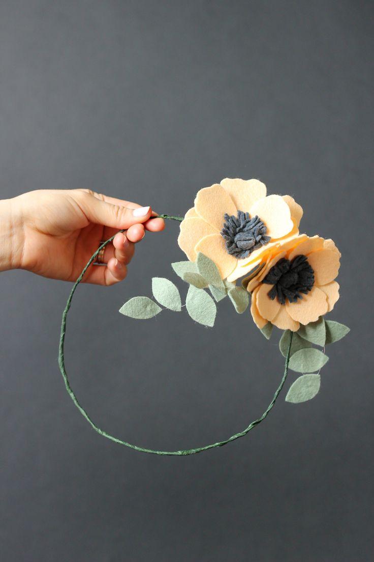 Felt flower crown and hair clips (via deliacreates.com).