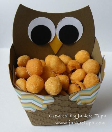 Punch Art Fry Box Owl made from Stampin' Up Fry box and punches. Includes photo tutorial