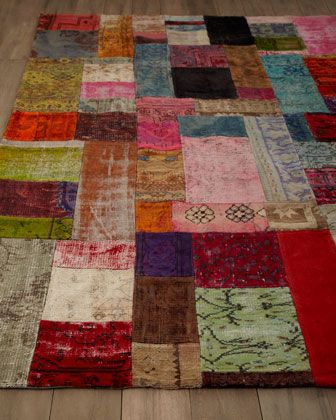 """""""Mona"""" Patchwork Rug at Horchow. pieces taken from old persian /turkish rugs, then over-dyed. cool!"""