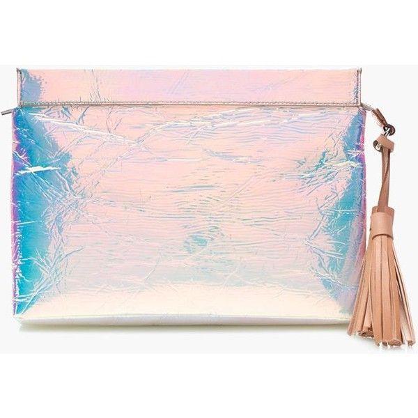J.Crew Iridescent Clutch ($140) ❤ liked on Polyvore featuring bags, handbags, clutches, zipper handbag, hologram purse, j crew purse, zipper purse and pink clutches
