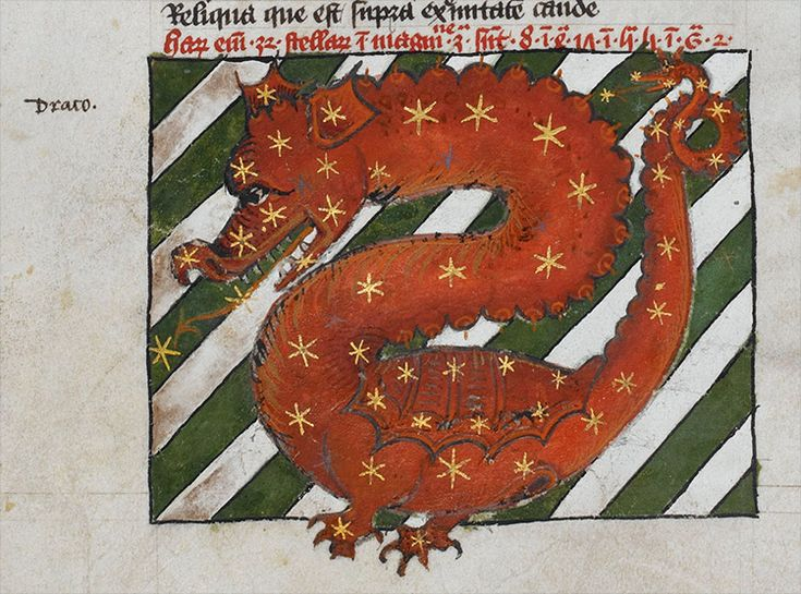Detail of a miniature of the dragon constellation (Draco), in tables from Ptolemy Almagest.
