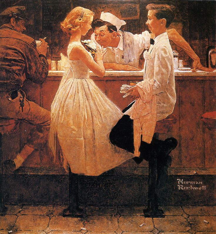 1957... After the Prom - by Norman Rockwell