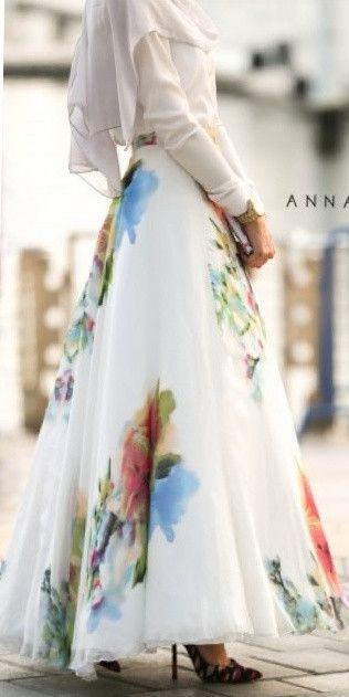 Silk Flower Maxi Skirt