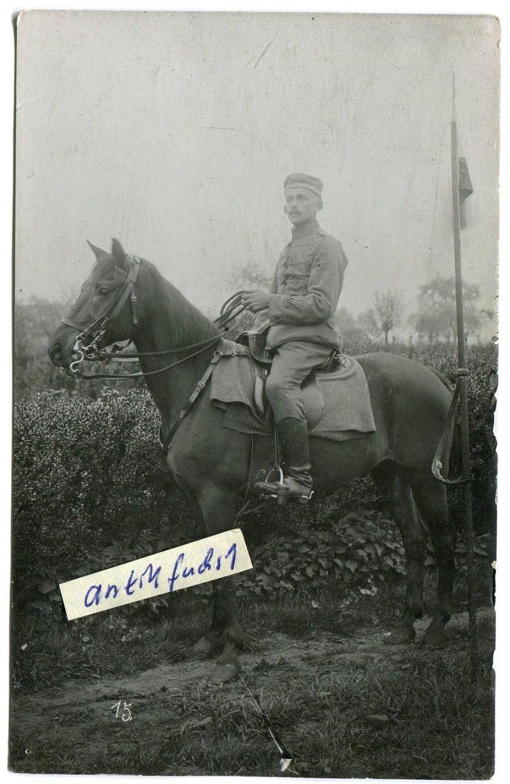 Foto : Husar in Feldgrau mit Lanze auf Pferd im 1.WK