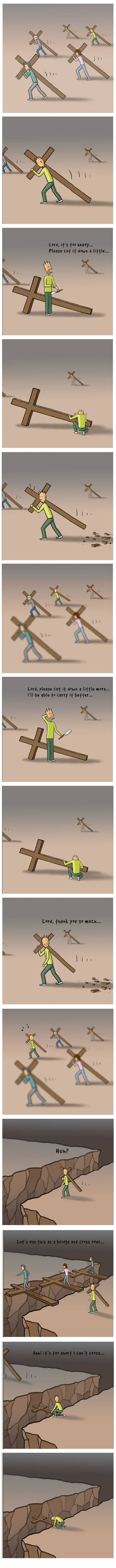 Being a good Christian means carrying your daily cross, and man is it heavy! What seems like a burden today, might be a blessing in the future though.   #Catholic #Christian #faith