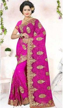Designer Embroidery Deep Pink Color Net Ethnic Wear Sarees   FH527280282 >>Follow Us @heenastyle <<< ------------------------------------ #traditionalwear #ethnicwear #ethniccollection #onlinesarees #photoshoot #model #designersarees #sari #designersaris #attractive #beautiful #classy #usa #newyork #newjersey #australia #italy #unitedkingdom #golden #womenscloth #womenfashion #weddingseason #weddingwear #bridalwear #heenastylesaree #sarees #blouses #party #designerblouses  #bollywood