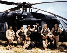 The crew of Super 6-4 one month before the Battle of Mogadishu. From left: Winn Mahuron, Tommy Field, Bill Cleveland, Ray Frank and Michael Dura