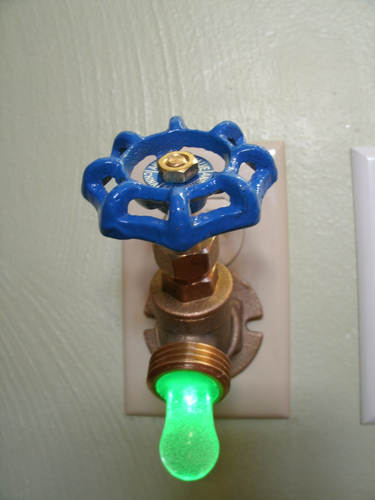 Green LED Faucet Valve night light